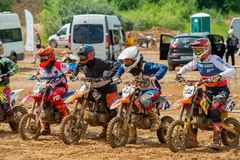 At the start. MOSCOW, RUSSIA - JULY 1, 2017: Unrecognized young athletes, in the Velyaminovo Race Weekend 2017, Motopark Velyaminovo, Istrinsky district Stock Image
