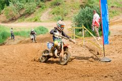 Turn the route. MOSCOW, RUSSIA - JULY 1, 2017: Unrecognized young athletes,  in the Velyaminovo Race Weekend 2017, Motopark Velyaminovo, Istrinsky district Stock Photography
