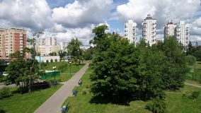 Moscow, Russia - July 20.2017. View from height of boulevard in Zelenograd stock video footage