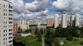 Moscow, Russia - July 20.2017. View from height of boulevard in Zelenograd stock footage