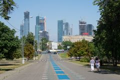 Moscow, Russia - July 26, 2014: View on Moscow City from Pobedy Park Royalty Free Stock Image