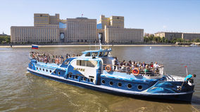 MOSCOW, RUSSIA - JULY 4: the walking tourist ship on Moscow rive Royalty Free Stock Photography