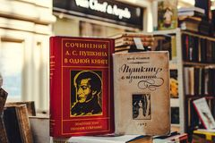 Free MOSCOW, RUSSIA - JUNE 5, 2019: Set Of Vintage Russian Books In The Store. Royalty Free Stock Photography - 153723177