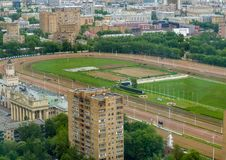 Aerial view to Central Moscow hippodrome Royalty Free Stock Images