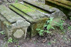 Ancient tombstones in Kolomenskoye. MOSCOW, RUSSIA - JUNE 10, 2013:Ancient tombstones in Kolomenskoye Stock Image