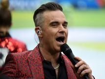 British singer Robbie Williams performing at the opening ceremony of FIFA World Cup 2018 in Russia. stock images