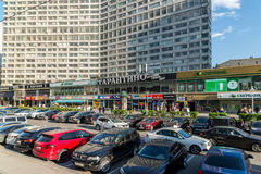 Moscow, Russia -03 June 2016. Cafes and shops and banks in Novy Arbat. Moscow, Russia -03 June 2016. Cafes and shops in the Novy Arbat Royalty Free Stock Photo