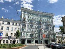 Moscow, Russia, June, 20, 2019. Cars parked on Chistoprudny Boulevard near  house 23. Apartment house of N. D. Teleshov 1900, arc. Moscow, Russia. Cars parked on royalty free stock image