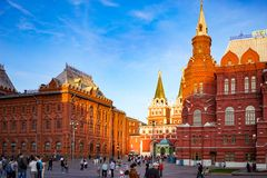 The city`s architecture with historic buildings and a monument to Marshal Zhukov walking with people in the evening hours. Moscow, Russia - June 2, 2015: The Royalty Free Stock Image