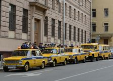 A column of old Soviet cars GAI is preparing for an auto rally. Stock Photography