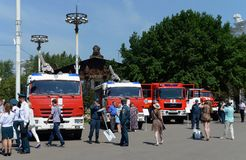 Exhibition of firefighting vehicles at the exhibition center in Moscow. MOSCOW, RUSSIA - JUNE 26, 2016: Exhibition of firefighting vehicles at the exhibition stock photos