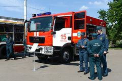 Exhibition of firefighting vehicles at the exhibition center in Moscow. MOSCOW, RUSSIA - JUNE 26, 2016: Exhibition of firefighting vehicles at the exhibition stock photography