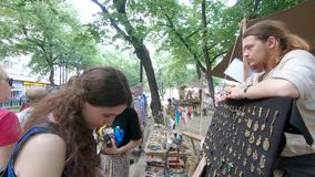 At the festival Times and Epochs. Moscow, Russia, June 09, 2019: At the festival Times and Epochs. The site is dedicated to experimental archeology and crafts of stock video