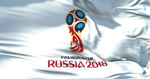 Moscow, Russia, June 14 2018, FIFA - waving fabric texture of the flag of official logo of the football world championship cup