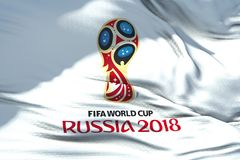 Moscow, Russia, June 14 2018, FIFA - waving fabric texture of th. E flag of official logo of the football world championship cup in Russia 2018, only editorial stock photos