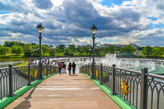 Moscow, Russia - June 08. 2016. Footbridge across the pond in museum of Tsaritsyno Museum Royalty Free Stock Photos