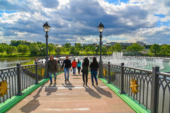 Moscow, Russia - June 08. 2016. Footbridge across the pond in museum of Tsaritsyno Museum Royalty Free Stock Photo