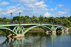 Moscow, Russia - June 08. 2016. Footbridge across the pond in museum of Tsaritsyno Museum Royalty Free Stock Photography