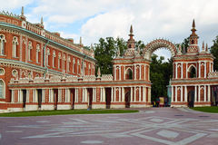 Moscow, Russia - June 08, 2016. Gallery with arch in museum estate of Tsaritsyno Royalty Free Stock Photography
