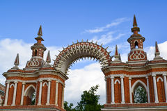 Moscow, Russia - June 08, 2016. Gallery with arch in museum estate of Tsaritsyno Stock Photos