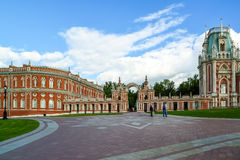 Moscow, Russia - June 08, 2016. Gallery with arch in museum estate of Tsaritsyno Royalty Free Stock Image