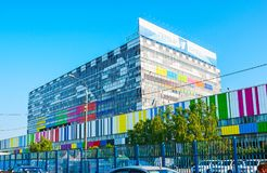 Ostankino Technical Center, Moscow. MOSCOW, RUSSIA - JUNE 29, 2013: The glass building of Ostankino Technical Center, decorated with painted TV test card royalty free stock images