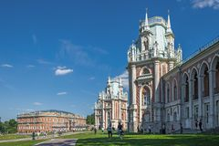 Tsaritsyn Palace in museum-reserve Tsaritsyno. MOSCOW, RUSSIA - JUNE 16, 2018: Great Tsaritsyn Palace in museum-reserve Tsaritsyno royalty free stock photos