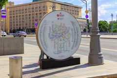 Moscow, Russia - June 03, 2018: Information board with Moscow Metro map near Lubyanka station stock photo