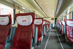 Moscow, Russia - June 14.2016. Interior two-storey train number 45 route from Moscow to Voronezh at Kazan station Royalty Free Stock Images
