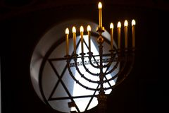 Intnnier of the Moscow Choral Synagogue.Nine-leafed or menorrhate Hanukkah, Hanukkah lamp. Moscow / Russia-June, 22, 2018: Intnnier of the Moscow Choral stock photography