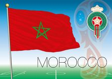 MOSCOW, RUSSIA, june-july 2018 - Russia 2018 World Cup logo and the flag of Morocco Stock Images