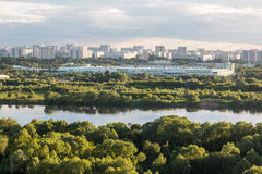 MOSCOW, RUSSIA - June, 2017: Kapotnya, Moskva Reka, Maryno and Brateevo, outskirts of UVAO Moscow, Russia. Summer view Royalty Free Stock Photo
