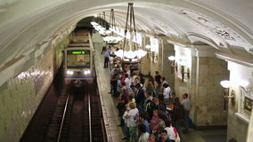 MOSCOW, RUSSIA - JUNE 2013: Daily life Moscow metro passengers stock video