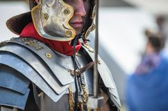 MOSCOW,RUSSIA-June 06,2016: Lifestyle picture of ancient warrior ready to fight at festival Royalty Free Stock Photography