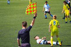 Moscow, Russia, June 2018: linesman referee on a football match royalty free stock photos