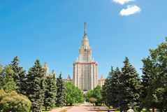 The main building of Moscow state University. M. V. Lomonosov Moscow state University on Vorobyovy Gory. Moscow, Russia - June 5, 2012: The main building of Royalty Free Stock Images