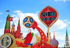Official countdown of FIFA World Cup Russia 2018. MOSCOW, RUSSIA - JUNE 17: Official countdown of FIFA World Cup Russia 2018 in Moscow on June 17, 2018 royalty free stock photo