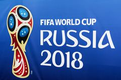 MOSCOW, RUSSIA - 14 June, 2018 Official emblem, logo of the 2018 World Cup FIFA 2018, FIFA Fan Fest. Stend stock photography