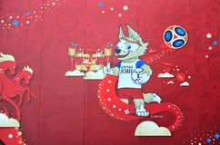 Official mascot of FIFA world cup 2018 in Moscow, Russia stock photos