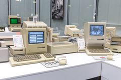 MOSCOW, RUSSIA - JUNE 11, 2018: Old original Apple Mac computer in museum in Moscow Russia. MOSCOW, RUSSIA - JUNE 11, 2018: Old original Apple Mac computer in royalty free stock photo