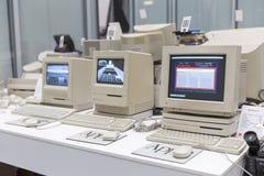 MOSCOW, RUSSIA - JUNE 11, 2018: Old original Apple Mac computer in museum in Moscow Russia. MOSCOW, RUSSIA - JUNE 11, 2018: Old original Apple Mac computer in stock photos