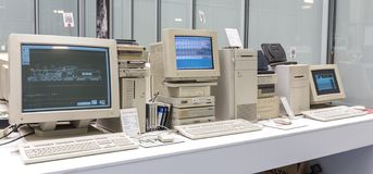 MOSCOW, RUSSIA - JUNE 11, 2018: Old original Apple Mac computer in museum in Moscow Russia. MOSCOW, RUSSIA - JUNE 11, 2018: Old original Apple Mac computer in stock photos