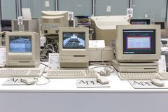 MOSCOW, RUSSIA - JUNE 11, 2018: Old original Apple Mac computer in museum in Moscow Russia. MOSCOW, RUSSIA - JUNE 11, 2018: Old original Apple Mac computer in royalty free stock image