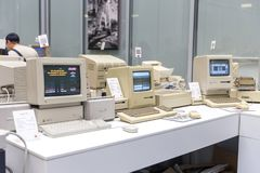 MOSCOW, RUSSIA - JUNE 11, 2018: Old original Apple Mac computer in museum in Moscow Russia. MOSCOW, RUSSIA - JUNE 11, 2018: Old original Apple Mac computer in stock image