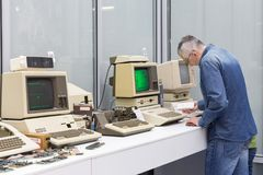 MOSCOW, RUSSIA - JUNE 11, 2018: Old original Apple Mac computers. In museum in Moscow Russia royalty free stock photo