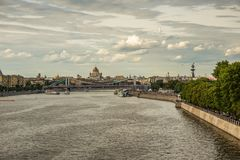 Panoramic view on a  Moscow River in Russia stock photo