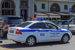Moscow, Russia - June 03, 2018: Patrol police car on the street in Moscow on a sunny summer morning royalty free stock image