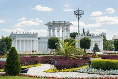 Moscow, Russia - June 24, 2019: Pavilion of the Soviet culture, former Uzbek at VDNKH in Moscow.  royalty free stock photo
