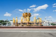 Moscow, Russia - June 24, 2019: The Peoples Friendship Fountain in VDNKh park in Moscow.  royalty free stock photo