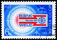 World Electronics Congress, serie, circa 1977. MOSCOW, RUSSIA - JUNE 19, 2019: Postage stamp printed in Soviet Union USSR devoted to World Electronics Congress royalty free stock photography